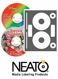 100 Fellowes Neato® CLP-192372 High Gloss Photo Quality Inkjet Only CD/DVD Labels - 50 Sheets